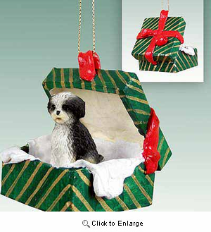 Shih Tzu Gift Box Christmas Ornament Black-White Sport Cut