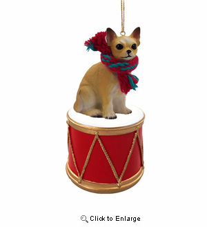 Little Drummer Chihuahua Christmas Ornament