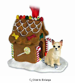 Chihuahua Gingerbread House Christmas Ornament Tan-White