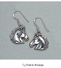 Sterling Silver Horse Earrings
