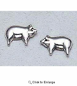 Pig Earrings Sterling Silver Stud