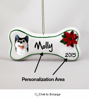 Siberian Husky Personalized Dog Bone Christmas Ornament Black-White Brown Eyes