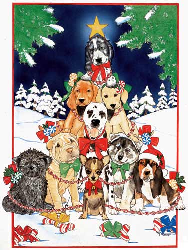 Dogs O'Christmas Tree Christmas Cards