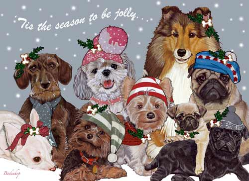 Dogs Snow Babies Christmas Cards
