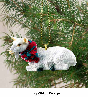 Goat Tiny One Christmas Ornament White