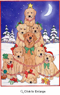 Golden Retriever Christmas Cards Tree