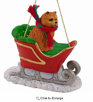 Chow Chow Sleigh Ride Christmas Ornament Red