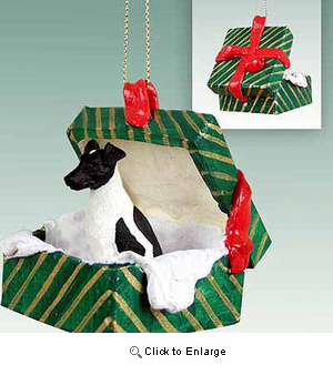Smooth Fox Terrier Gift Box Christmas Ornament Black-White