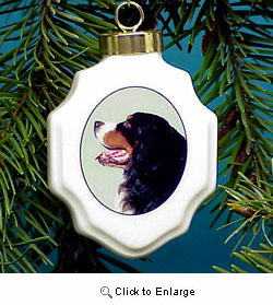 Bernese Mountain Dog Christmas Ornament Porcelain