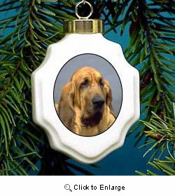 Bloodhound Christmas Ornament Porcelain