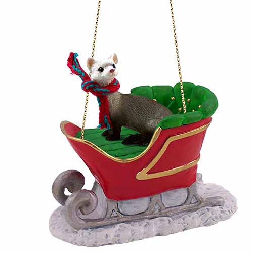 Ferret Sleigh Ride Christmas Ornament