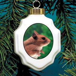 Hamster Christmas Ornament Porcelain