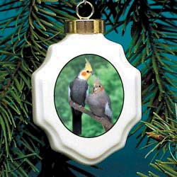 Cockatiel Christmas Ornament Porcelain