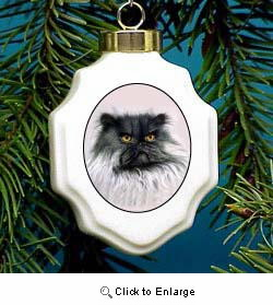 Persian Cat Christmas Ornament Porcelain