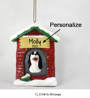 Springer Spaniel Personalized Dog House Christmas Ornament Black-White