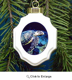 Sea Turtle Christmas Ornament Porcelain