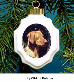 Vizsla Christmas Ornament Porcelain