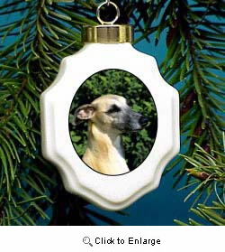 Whippet Christmas Ornament Porcelain