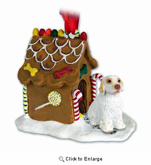Clumber Spaniel Gingerbread House Christmas Ornament