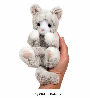 "Gray Cat Plush Stuffed Animal ""Lil Handful"" 6"""