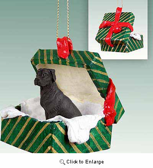 Great Dane Gift Box Christmas Ornament Black Uncropped