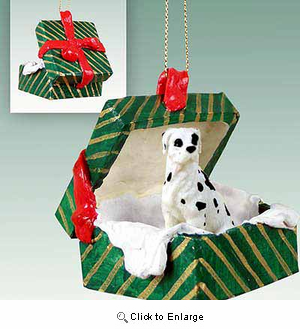 Great Dane Gift Box Christmas Ornament Harlequin Uncropped