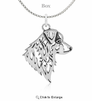 Sterling Silver Australian Shepherd Head Necklace