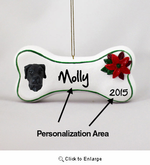 Great Dane Personalized Dog Bone Christmas Ornament Black Uncropped