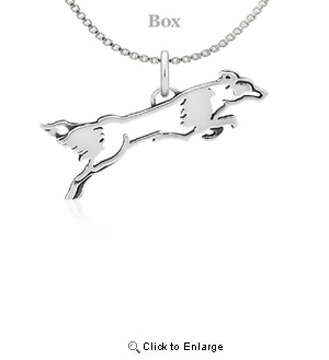 Sterling Silver Border Collie Fly Like A Necklace