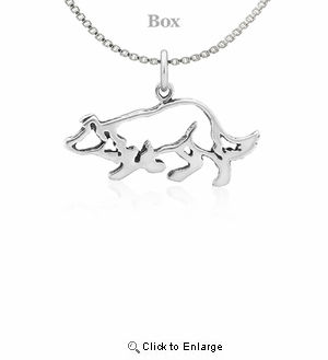 Sterling Silver Border Collie Small Necklace