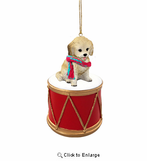 Little Drummer Cockapoo Blonde Christmas Ornament