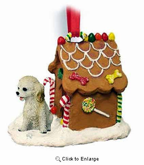 Cockapoo Gingerbread House Christmas Ornament Blonde