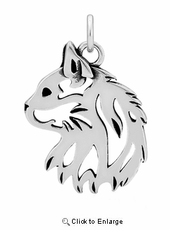 Sterling Silver Cat Head Necklace