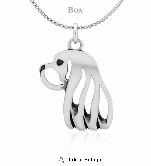 Sterling Silver Cavalier King Charles Head Necklace