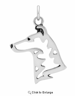 Sterling Silver Collie Smooth Coat Head Necklace