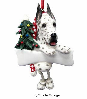 Great Dane Christmas Tree Ornament - Personalize (Harlequin)