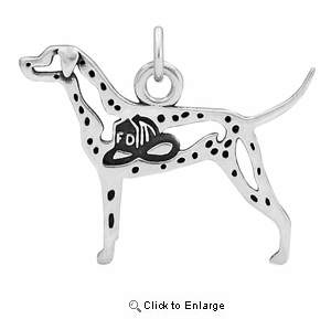 Sterling Silver Dalmatian W/Fire Hat Body Necklace