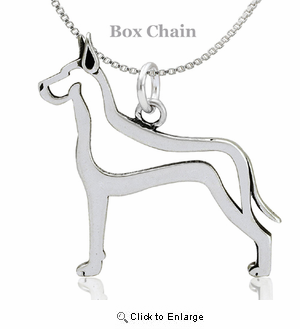 Sterling Silver Great Dane Cropped Ears Body Necklace