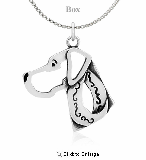 Sterling Silver Great Dane Natural Ears Head Necklace