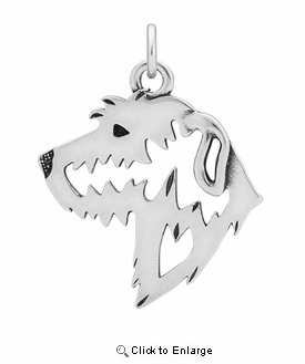 Sterling Silver Irish Wolfhound Head Necklace