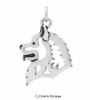 Sterling Silver Samoyed Head Necklace