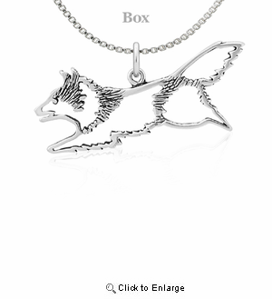 Sterling Silver Shetland Sheepdog Jumping Necklace