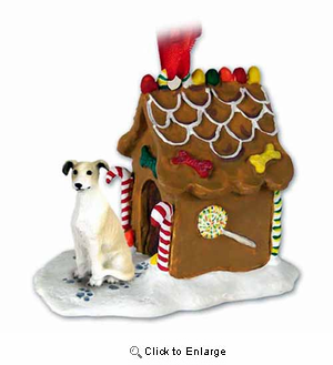 Greyhound Gingerbread House Christmas Ornament Tan-White