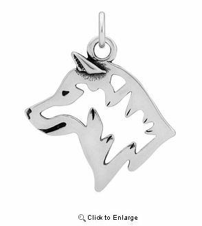 Sterling Silver Shiba Inu Head Necklace