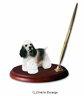 Cocker Spaniel Pen Holder (Brown & White)