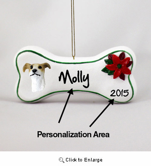 Greyhound Personalized Dog Bone Christmas Ornament