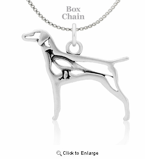 Sterling Silver Vizsla W/Pheasant Necklace