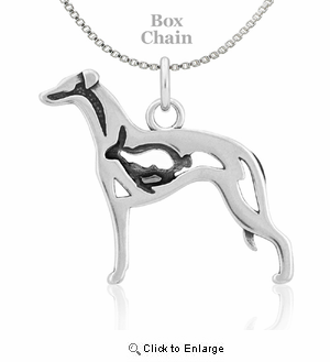 Sterling Silver Whippet W/Bunny Necklace