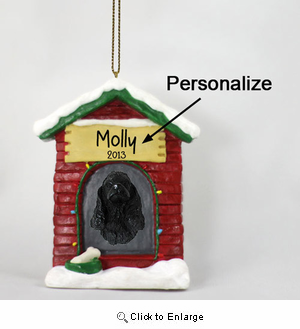 Cocker Spaniel Personalized Dog House Christmas Ornament Black