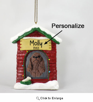 Cocker Spaniel Personalized Dog House Christmas Ornament Brown